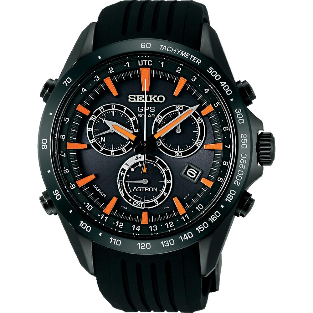 SEIKO ASTRON GPS衛星定位太陽能電波腕錶~黑x橘時標45mm 8X82~0A