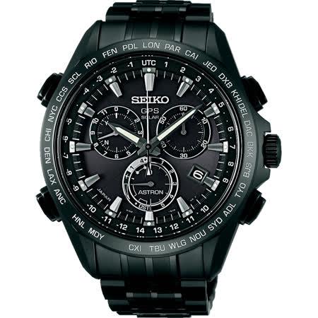 SEIKO ASTRON GPS 衛星定位太陽能【鈦】計時腕錶-IP黑 8X82-0AB0SD(SSE009J1)