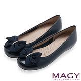 MAGY 甜美可愛系 立體大織帶蝴蝶結平底娃娃鞋-深藍