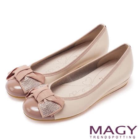 MAGY 甜美混搭新風貌 閃亮水鑽蝴蝶結滾邊娃娃鞋-粉紅