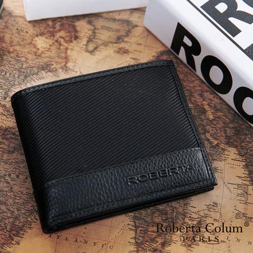 Roberta Colum ~ 雅痞 系牛皮款可拆式左右翻12卡2照短夾~黑
