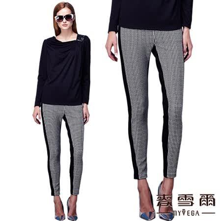 【麥雪爾】黑色拼接千鳥紋修身窄管長褲
