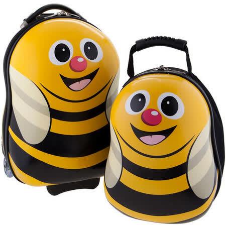 【英國cuties and pals】16吋蛋型輕硬殼兒童專屬旅行箱+13吋背包組(蜜蜂)