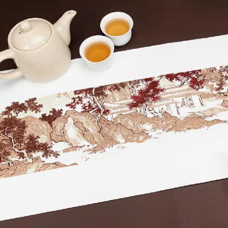 溪山漁隱圖 長形桌旗巾 (禮盒組)