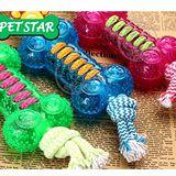 TPR棉繩結玩具拉手骨頭環保無毒磨牙耐咬狗狗玩具顏色隨機