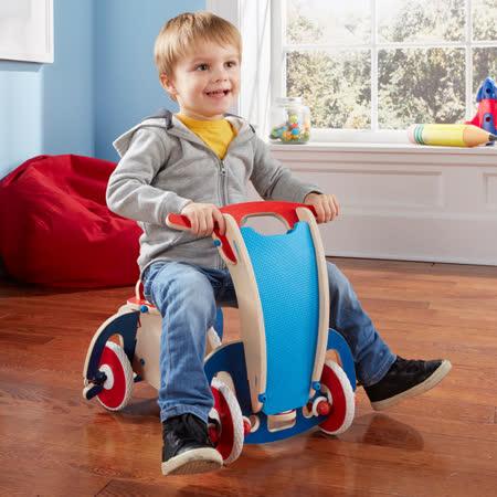 美國 Buildex 純木質騎乘車(藍色摩托車)