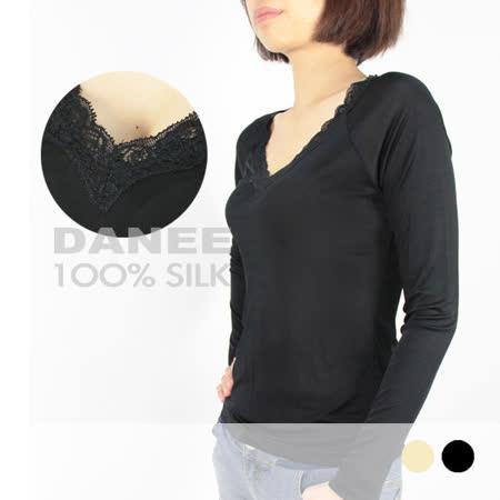岱妮蠶絲 - (CC3389E)領口典雅蕾絲長袖衛生衣 (黑色)