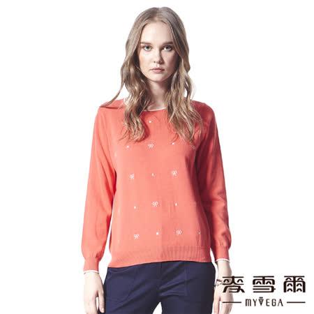 【麥雪爾】可愛蝴蝶結雙色勾勒針織衫-二色
