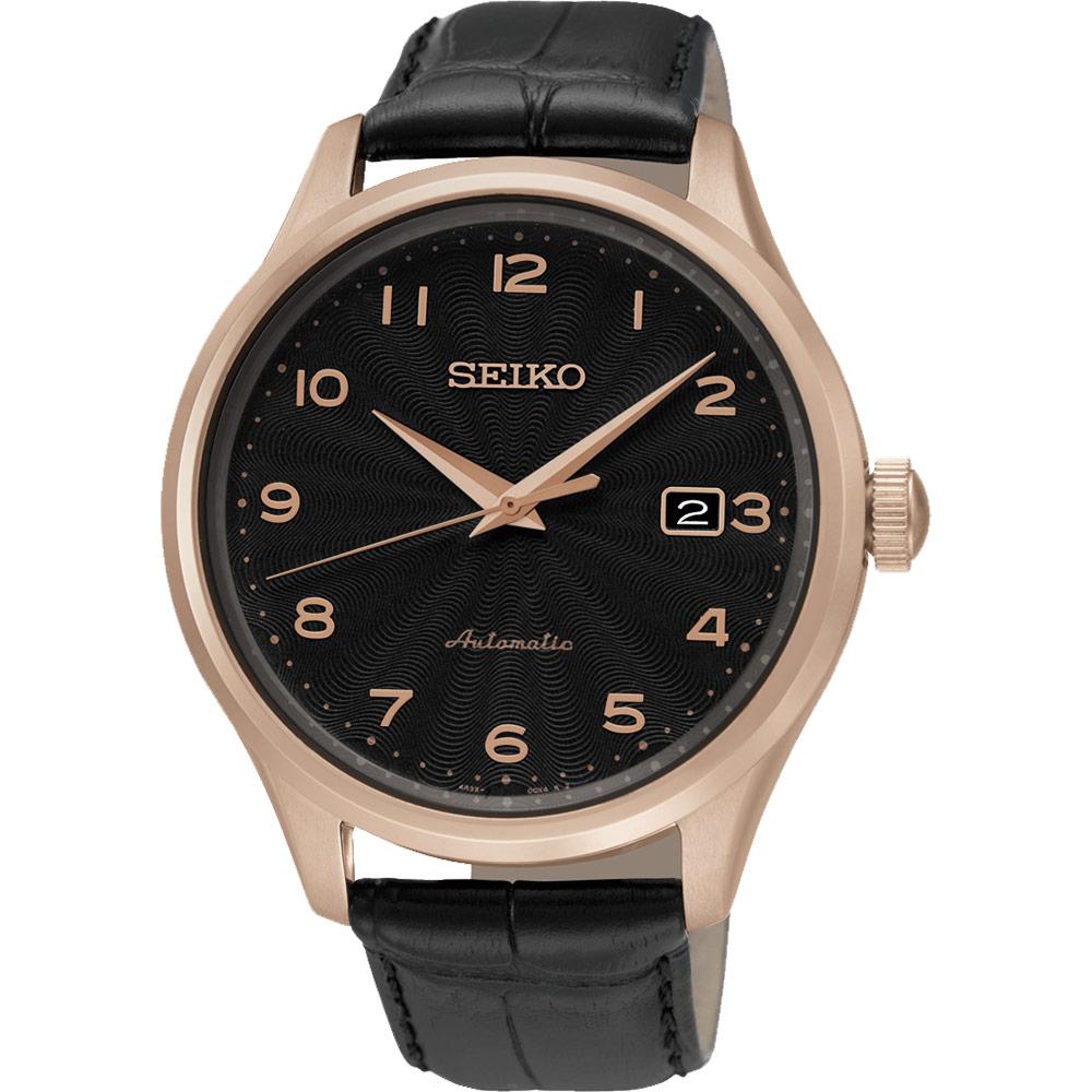 SEIKO CS系列 簡約雅仕機械錶~黑x玫瑰金框42mm 4R35~00P0P^(SRP