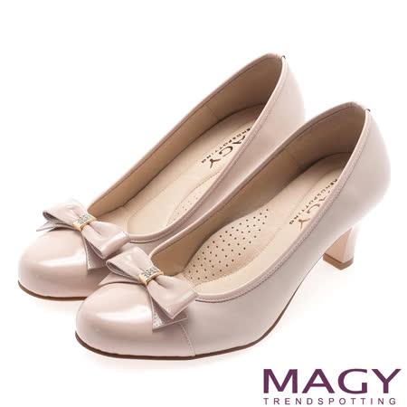 MAGY 甜美OL專屬 雙皮質拼接蝴蝶結高跟鞋-粉紅