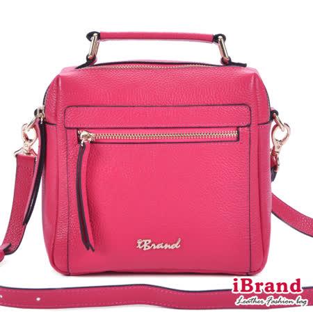 iBrand真皮-韓風時尚真皮手提拉鍊小方包-甜莓桃