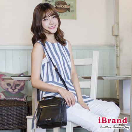 iBrand真皮-韓風時尚真皮手提拉鍊小方包-個性黑