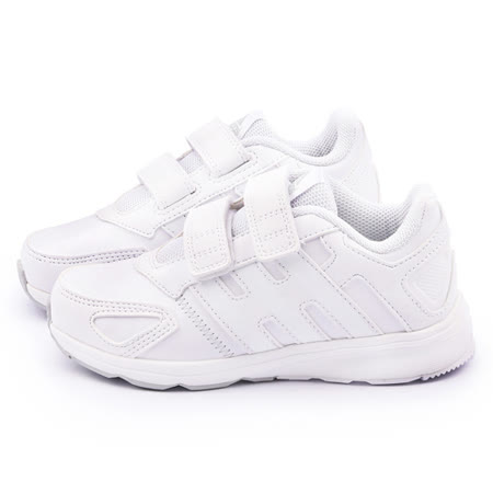 Adidas 中大童 魔鬼氈輕量運動跑鞋 B32753-白