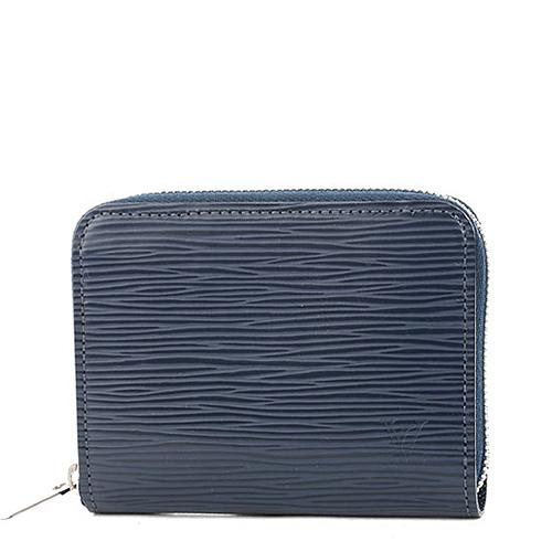 Louis Vuitton LV M60384 EPI 水波紋皮革信用卡拉鍊零錢包.靛藍_