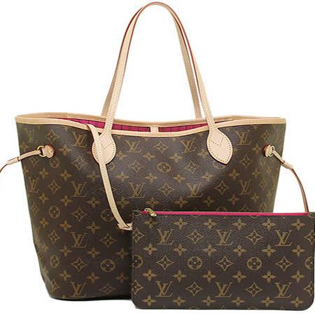Louis Vuitton NEVERFULL MM 經典花紋子母束口購物包