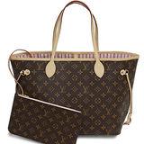 Louis Vuitton LV M50366 NEVERFULL MM 經典花紋子母束口購物包.粉紅_預購