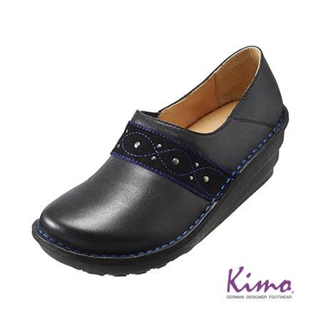 【Kimo德國品牌手工氣墊鞋】古典紋飾帶真皮厚底鞋_個性黑(K15WF011603)
