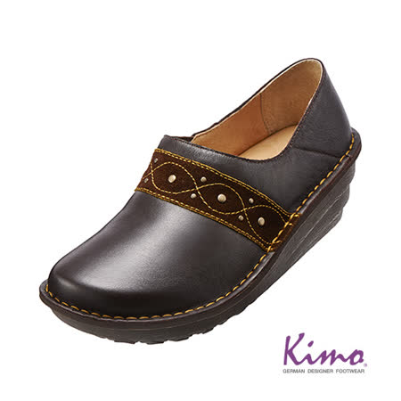 【Kimo德國品牌手工氣墊鞋】古典紋飾帶真皮厚底鞋_沉穩咖(K15WF011608)