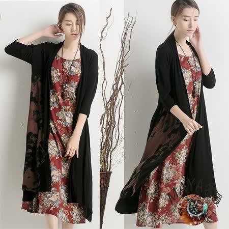 【Maya 名媛】(m~2xl)無扣式長袖長版古典外套/罩衫-黑色