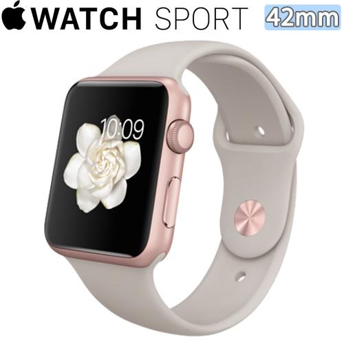 Apple WATCH SPORT 42mm/42公釐 A 玫瑰金色鋁金屬錶殼 石色運動型錶帶【含螢幕庇護貼+專用錶套】(MLC62TA/A)