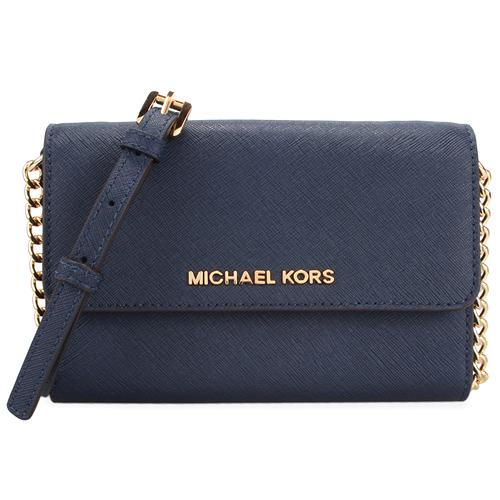 MICHAEL KORS 金色logo防刮皮革鍊條斜背包~小深藍色