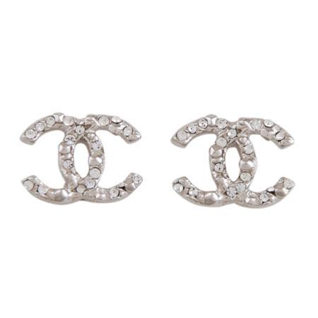 CHANEL 不規則設計鑲小鑽穿式耳環(銀)
