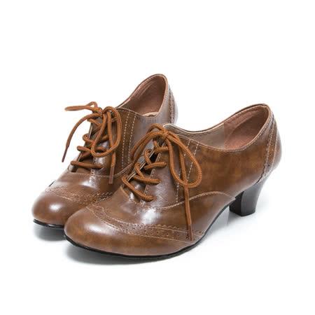 【Miaki】 MIT 英倫必敗綁帶中跟包鞋牛津靴踝靴 (咖啡 )