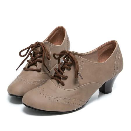 【Miaki】 MIT 英倫必敗綁帶中跟包鞋牛津靴踝靴 (棕色)