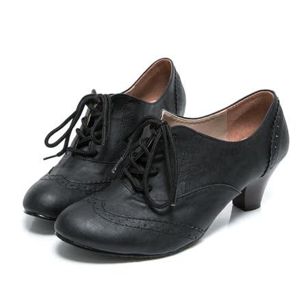【Miaki】 MIT 英倫必敗綁帶中跟包鞋牛津靴踝靴 (黑色)