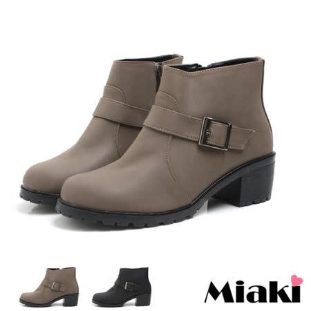 (現貨+預購)【Miaki】MIT 韓版英倫側拉鍊低跟短靴工程靴 ( 咖啡色 )