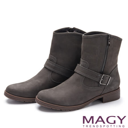 MAGY 紐約時尚步調 華麗燙鑽點綴低跟短靴-灰色