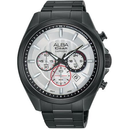 ALBA 即動宣言計時腕錶-銀x黑/45mm VD53-X219SD(AT3829X1)
