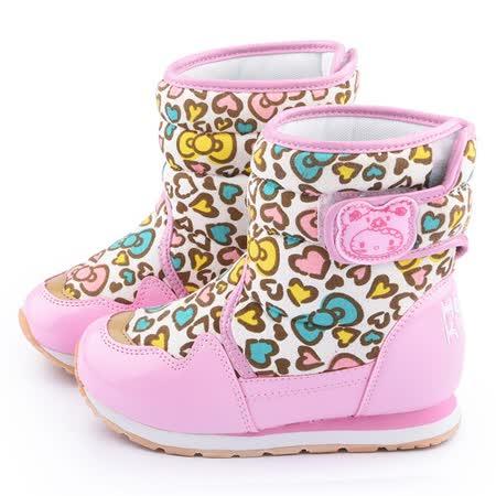 童鞋城堡-Hello Kitty 中大童 愛心豹紋輕量保暖短靴714890-白