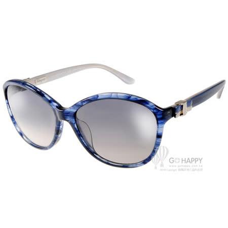 Salvatore Ferragamo太陽眼鏡 別緻微貓眼款(波紋藍) #SF645S 410