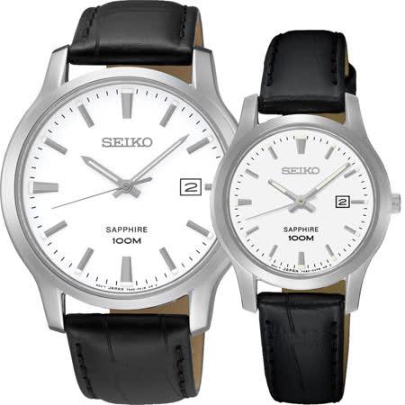 SEIKO CS系列石英對錶-白x黑/40+29mm 7N42-0GE0A+7N82-0JK0A(SGEH43P1+SXDG65P)