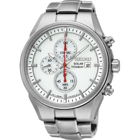 SEIKO CS系列太陽能鈦金屬計時碼錶-白/41mm V176-0AF0S(SSC363P1)