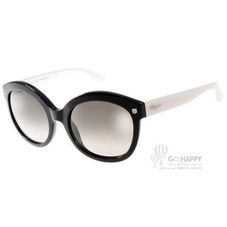 Salvatore Ferragamo太陽眼鏡 別緻貓眼款(黑-白) #SF677S 961