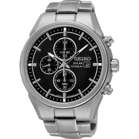 SEIKO CS系列太陽能鈦金屬計時碼錶-黑/41mm V176-0AF0D(SSC367P1)