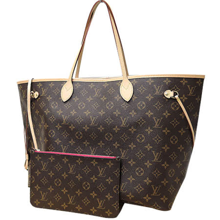 Louis Vuitton LV M41180 NEVERFULL GM 經典花紋子母束口購物包.桃紅 _預購