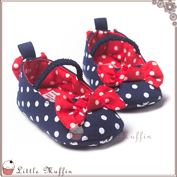 學步鞋 藍白點點胡蝶結娃娃鞋 止滑軟底