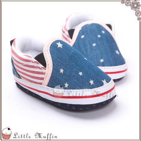 學步鞋 紅藍美國星條套腳便鞋/樂福鞋 止滑軟底