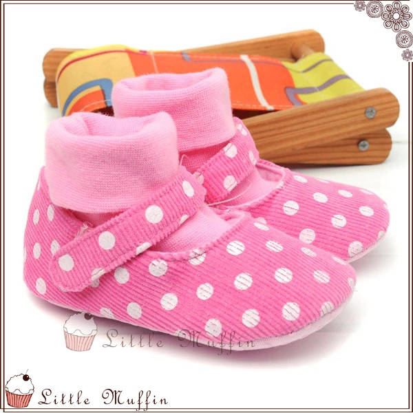 學步鞋 粉色圓點套腳棉襪娃娃鞋 止滑軟底
