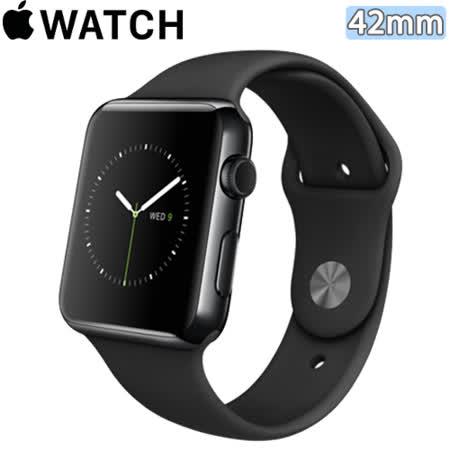Apple WATCH 42mm/42公釐 S 太空黑不鏽鋼錶殼 黑色運動型錶帶【含螢幕保護貼+觸控筆+專用錶套】(MLC82TA/A)