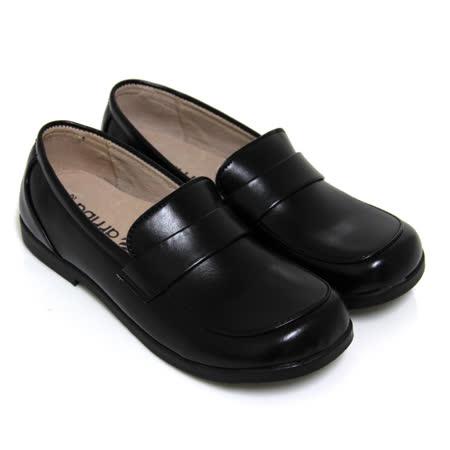 【Pretty】直套式寬圓頭低跟學生皮鞋(女款)