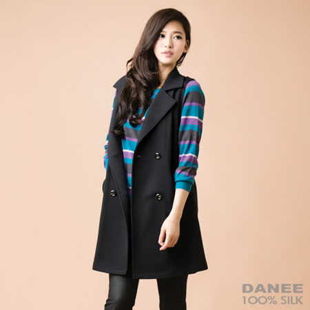 岱妮蠶絲 - 長版刷毛背心外套(黑色)