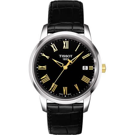 TISSOT CLASSIC DREAM 經典羅馬時標腕錶-黑x金/38mm T0334102605301