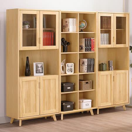 HAPPYHOME 伊登2.6尺四門實木書櫃
