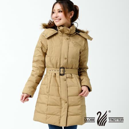 【遊遍天下】女款禦寒極暖JIS90%羽絨長版顯瘦連帽羽絨外套K006卡其