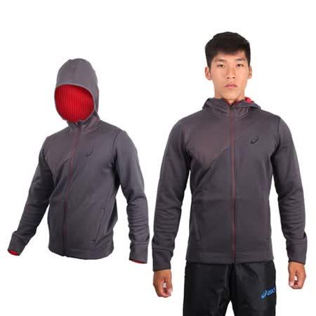 (男) ASICS 運動外套-連帽外套 路跑 慢跑 立領 刷毛 保暖 亞瑟士 深灰紅