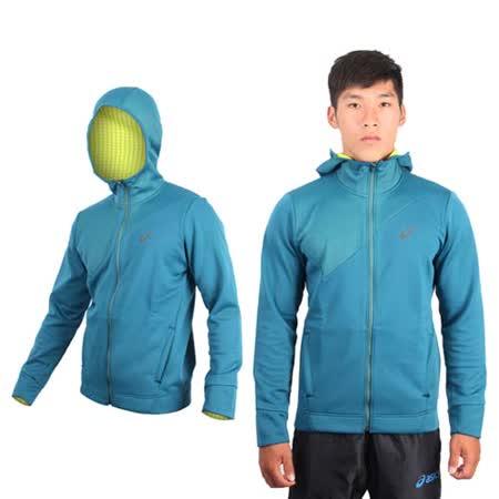 (男) ASICS 運動外套-連帽外套 路跑 慢跑 立領 刷毛 保暖 亞瑟士 湖水綠